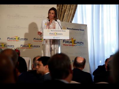 La consellera Àngels Chacón en la conferència del Fòrum Europa