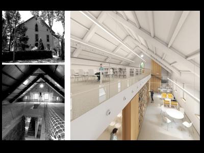 Imatges de l'estat actual de l'edifici, en blanc i negre, i de la modificació projectada, en color.