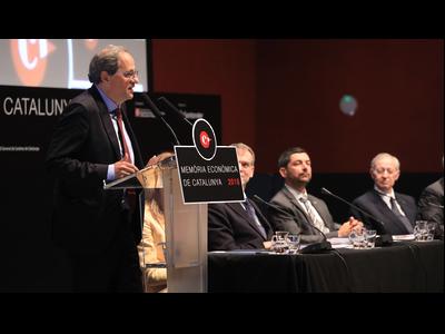 El president de la Generalitat, Quim Torra, durant la presentació de la Memòria Econòmica de Catalunya 2018, que elabora el Consell General de Cambres de Catalunya. Fotografia: Jordi Bedmar