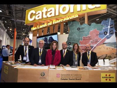 La consellera Chacón, en la inauguració avui de l'estand de Catalunya a la World Travel Market a Londres.