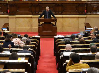 El president Torra durant el Ple del Parlament
