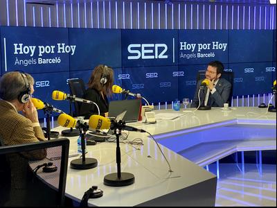 El vicepresident Aragonès, durant l'entrevista al programa Hoy por Hoy