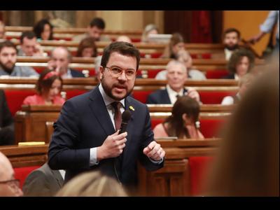 El vicepresident Aragonès, durant la seva intervenció al Ple del Parlament