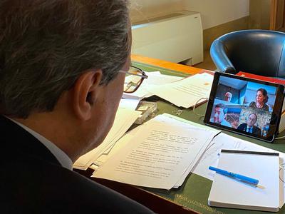 El president Torra durant la reunió amb el Consell de Cambres Catalanes