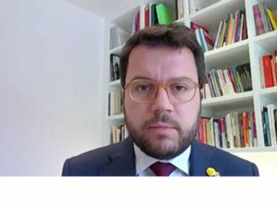 El vicepresident Aragonès, durant la seva intervenció a la Ple del Parlament