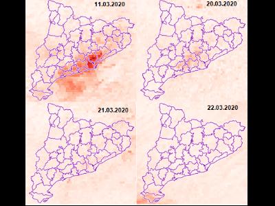 Variació de la concentració troposfèrica d'NO2 abans i durant les mesures de confinament.