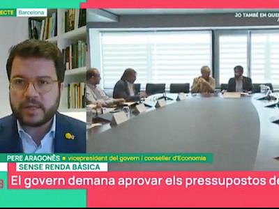 El VP Perè Aragonès durant una videoconferència