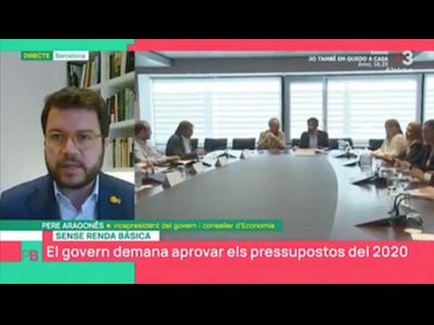 El vicepresident Aragonès durant una entrevista al programa Planta Baixa