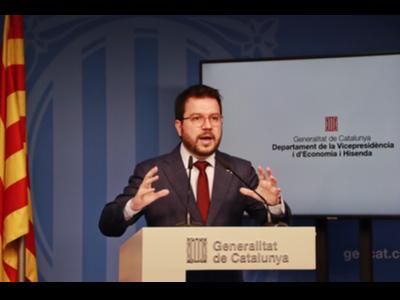 El vicepresident Aragonès, durant la roda de premsa