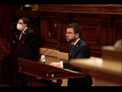 El vicepresident, durant la seva intervenció al Parlament
