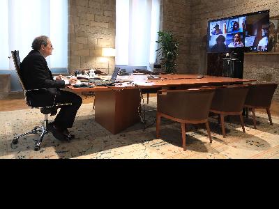 Fotografia del president Torra durant la reunió del Coreco