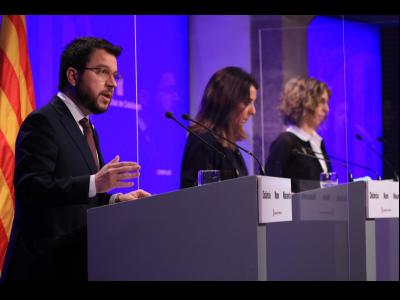 El vicepresident Aragonès, durant la roda de premsa posterior al Consell Executiu