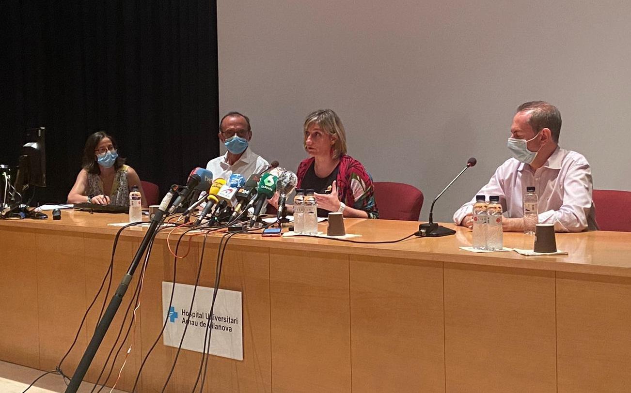 Farreny, Pueyo, Vergés i Sentís, durant la roda de premsa d'aquesta tarda a Lleida