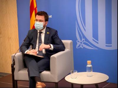 El vicepresident Pere Aragonès durant la seva intervenció