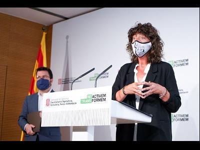 Moment de la roda de premsa del vicepresident Aragonès i la consellera Jordà