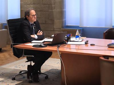 El cap de l'Executiu durant la reunió (autor: Jordi Bedmar)