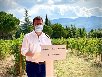 Fotografia del vicepresident Aragonès atenent els mitjans durant la visita al celler Juvé & Camps