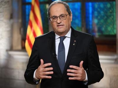 El president, en un moment del missatge institucional. Autor: Jordi Bedmar