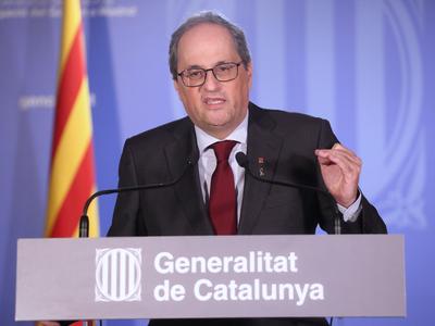 El president Torra durant la Declaració institucional
