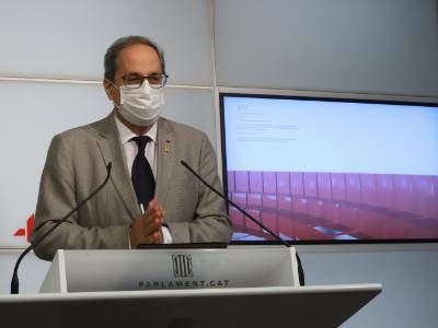 El president Torra durant la seva compareixença al Parlament (Foto: Rubén Moreno)