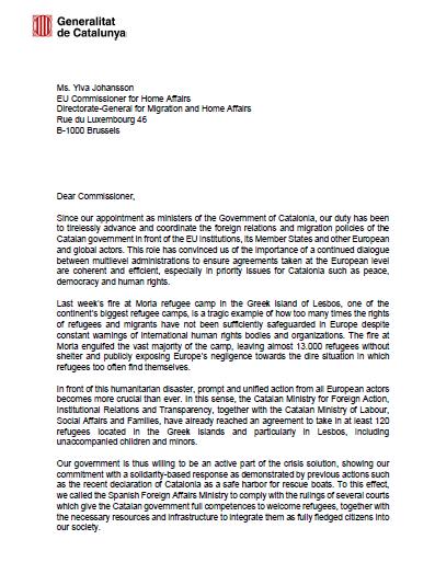Carta a la comissària d'Interior