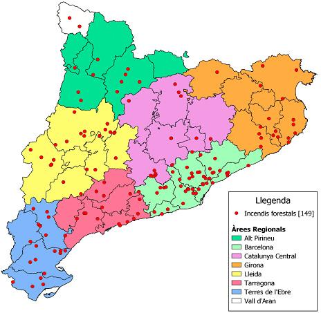 Mapa dels incendis produïts durant la campanya 2020
