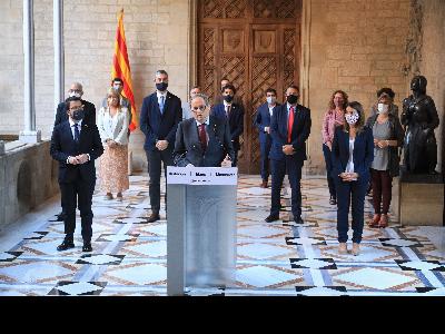 El president Torra, en un moment de la declaració institucional