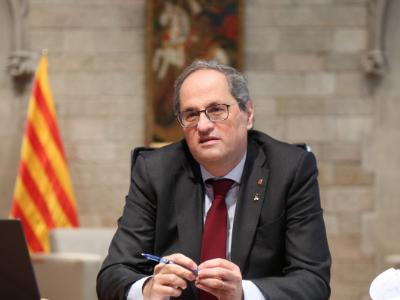 El president Torra durant la jornada virtual (foto: Jordi Bedmar)