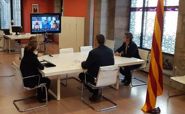 Solé, Villatoro i Nebreda, durant la reunió amb els delegats i delegades del Govern a l'exterior.