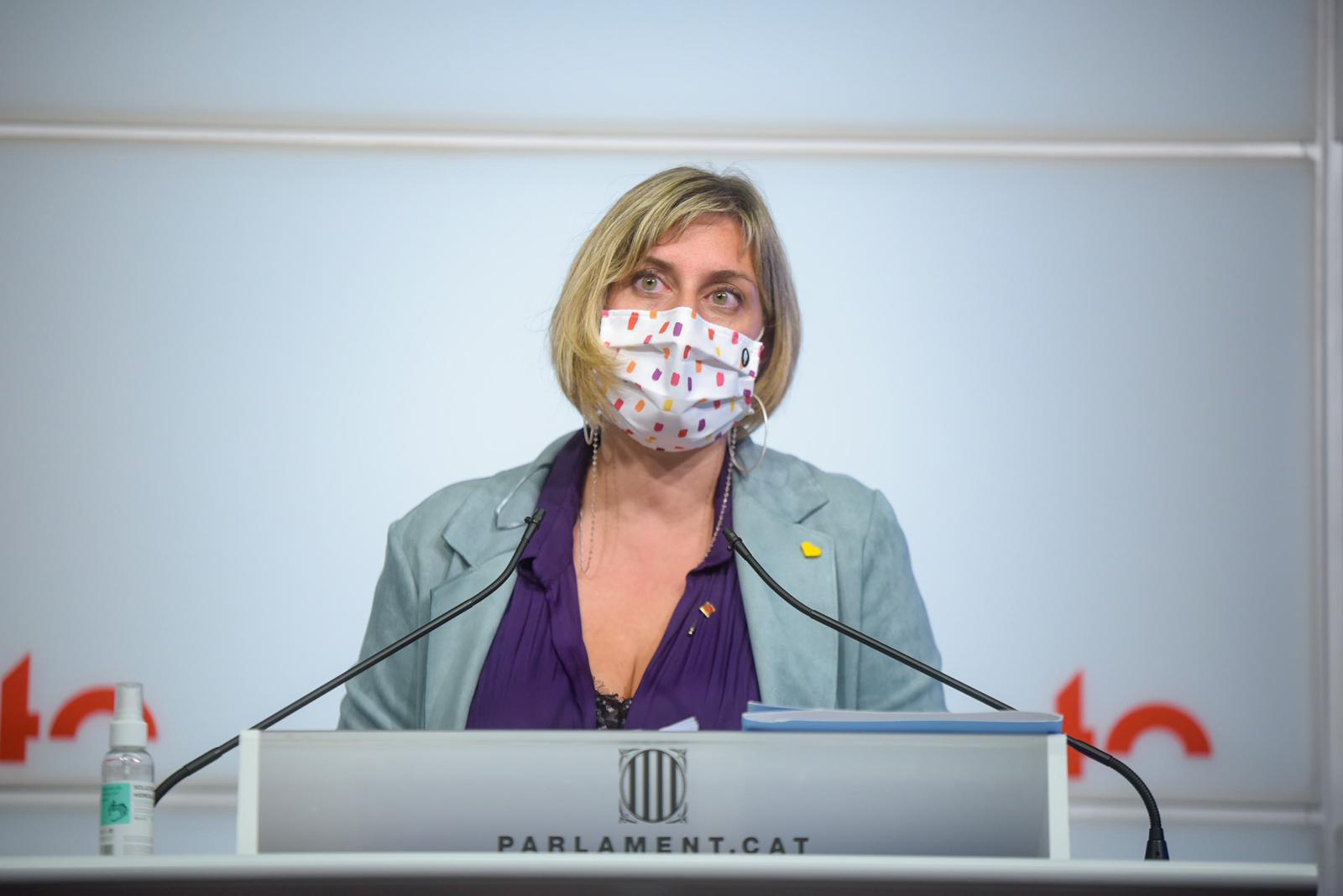La consellera de Salut, en la seva compareixença a la sala de premsa del Parlament, aquesta tarda.