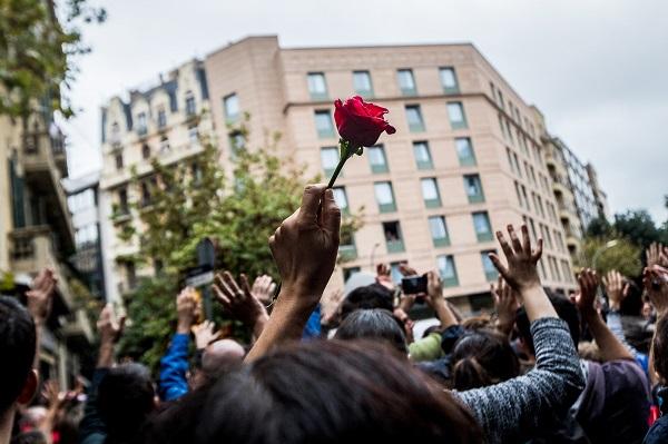 Una mà que subjecta una rosa sobresurt en una protesta ciutadana.