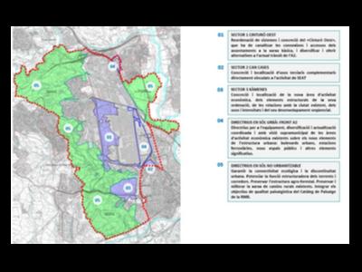 Mapa amb la ubicació dels tres sectors dels PDUAE