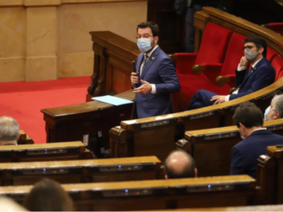 El vicepresident Aragonès, durant la sessió del control