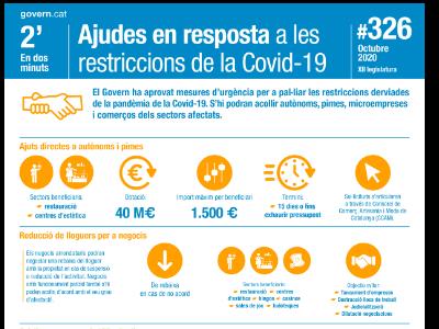 El Govern ha aprovat mesures d'urgència per a pal·liar les restriccions derviades de la pandèmia de la Covid-19. S'hi podran acollir autònoms, pimes, microempreses i comerços dels sectors afectats.