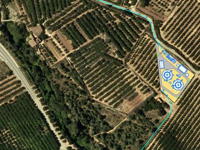 Plànol de la possible ubicació de la nova depuradora d'Alcover i el traçat dels col·lectors.