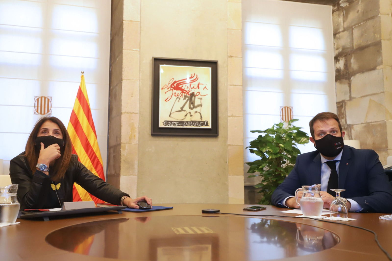 La consellera Budó i el secretari de l'Esport, Gerard Figueras.