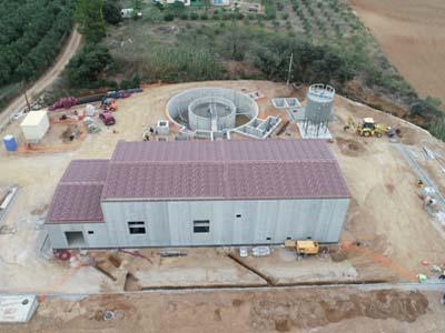 Vista aèria de les obres de la nova depuradora del Botarell.