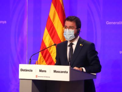 El vicepresident Aragonès, durant la roda de premsa del Consell Executiu Extraordinari