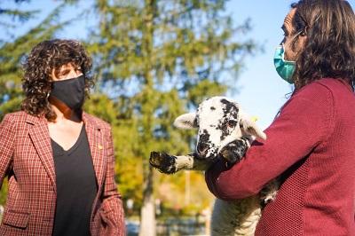 La consellera Jordà parlant amb un ramader del Ripollès