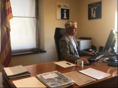 El director general de Turisme, Octavi Bono, durant la reunió telemàtica.