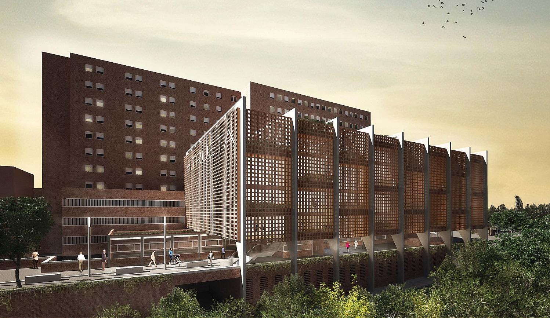 Fotografia del projecte d'ampliació de l'Hospital Trueta