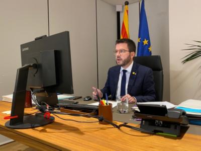 El vicepresident Aragonès durant la seva intervenció telemàtica als Premis La Confederació
