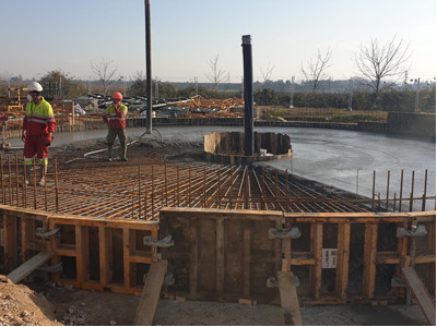 Treballs per construir la nova depuradora de Torrefarrera.