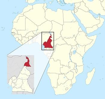 Al mapa, el Camerun situat al continent africà i, ampliada, la regió del nord del país.