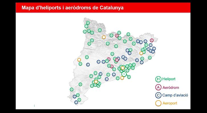 Mapa dels heliports i aeròdroms de Catalunya