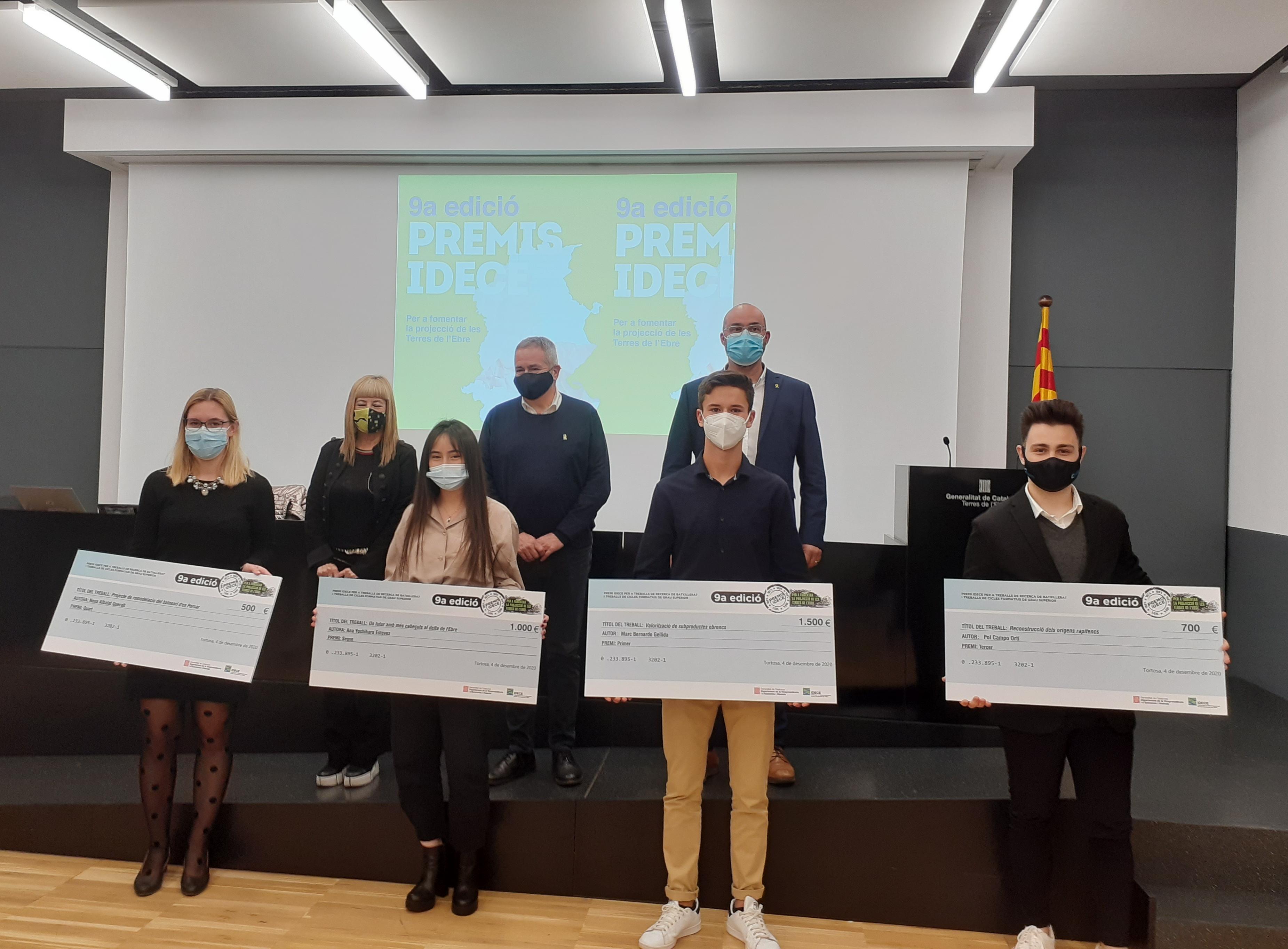 Guanyadors de la 9a. Edició dels Premis IDECE a la seu de la Generalitat a les Terres de l'Ebre