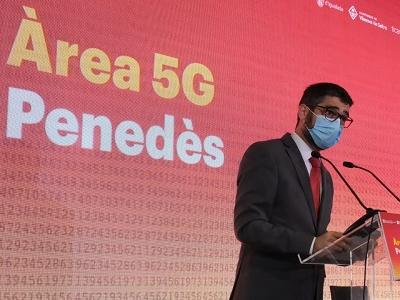 El conseller Puigneró durant el discurs de presentació de l'Àrea 5G Penedès