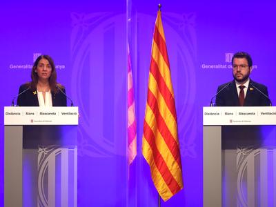 El vicepresident Aragonès i la consellera Budó durant la roda de premsa