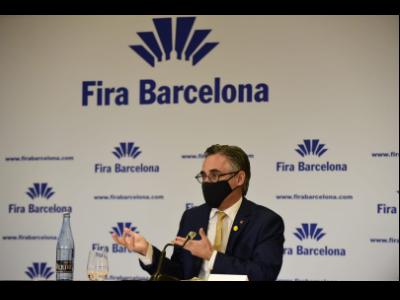 El conseller Tremosa en la presentació del balanç de Fira de Barcelona per a l'any 2021