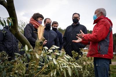 La consellera Jordà en un momenr de la visita en una finca d'olivera a Vinaixa